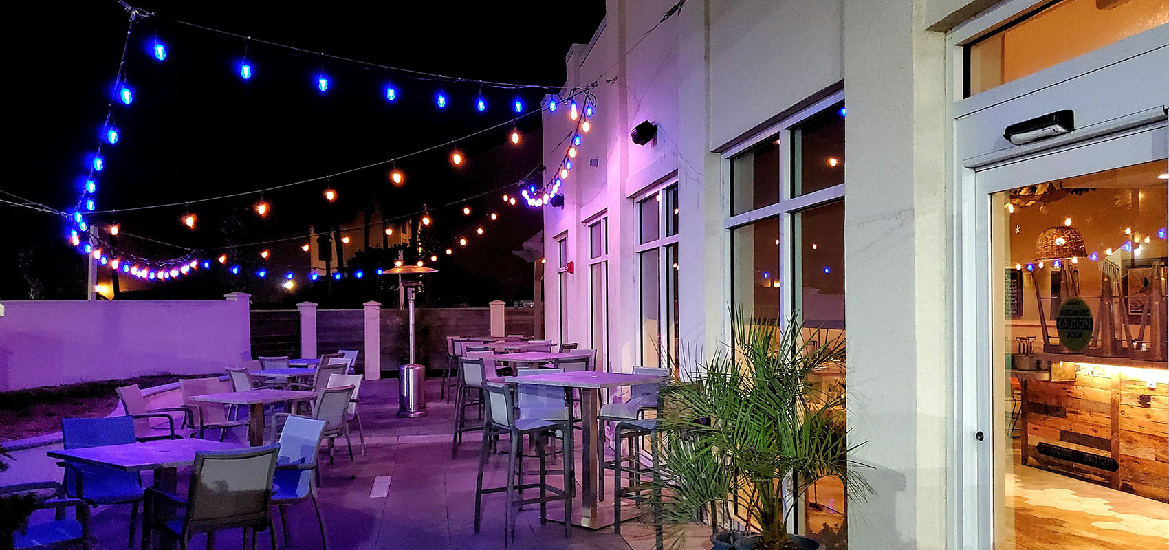 =santiagos outdoor patio at night