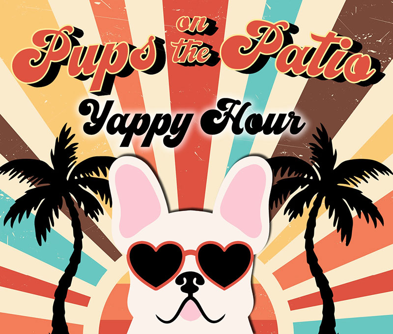 pups on the patio logo image with dog wearing sunglasses